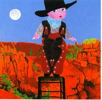 COWBOY ON STOOL IN CANYON